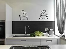 2 Coffee Cups Tea Kitchen Wall Stickers Cafe Vinyl Art Decals decor DIY Transfer