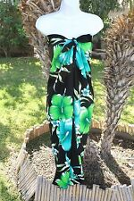 PLUS SIZE BLACK GREEN HIBISCUS HAWAII HAWAIIAN SWIMSUIT COVERUP WRAP DRESS