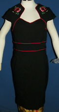 NWT Hell Bunny Vixen Rose Dress Size Large XL Rockabilly Vtg Pin Up Black & Red