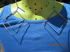 Vintage 80's EXTRA LARGE Silver Slender Squares & Pastel Pierced Earrings..#6161