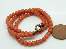 Antique Victorian Undyed Salmon Coral Bead Necklace
