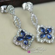 Flower Swarovski Crystal Element Dangle Stud Earrings,18K White Gold Plated