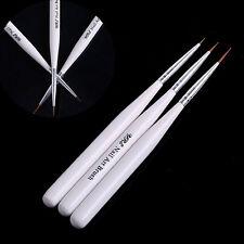 3PCS Nail Art Pen Liner Drawing Painting Brush Set Kit Tools Acrylic White Color