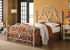Coaster 300264Q Ornate Iron Metal Queen Bed In White Egg Shell Finish