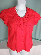 Hester & Orchard Top Blouse Large Red Cotton Spandex Puff Short Sleeve NWT