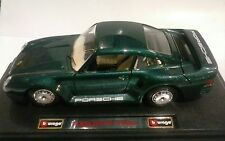 BURAGO 1:24 AUTO DIE CAST PORSCHE 959 TURBO 1986 VERDE MADE IN ITALY ART 0563