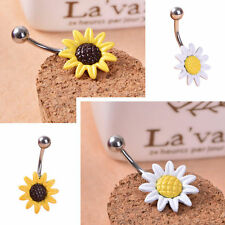 Sunflower Flower Belly Button Ring Navel Surgical Steel Piercing Body Jewelry