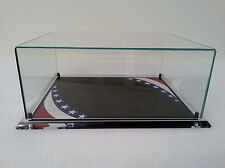 Display Case Red White Blue Flag Glass With Plexiglass Acrylic Base Desk Table