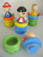WOODEN BABY TOOTH JAR - NOVELTY TINY PIRATE TRINKET BOX & LID WITH SEAL