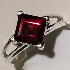 Natural Princess Cut 2ct Fire Garnet 925 Solid Sterling Silver Ring sz 6