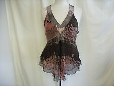 Ladies Silk Top Next, size UK 14, brown, lined, gathered under bust, party 0565