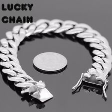 "8.5""STAINLESS STEEL SILVER MIAMI CUBAN LINK BRACELET 14mm 70g IP9"