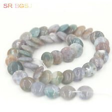 Jewelry Making Natural Coin Indian Agate Gemstone Beads 12mm  Strand 15""