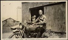 GROUP OF 5 PHOTOS EARLY INDIAN MOTORCYCLE W/ SIDECAR FATHER   JOHN JR PHOTO