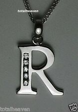"Initial ""R"" 14K White Gold Pendant 7/8"" BIG 1.3g NEW"