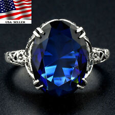 5CT Blue Sapphire 925 Solid Sterling Silver Art Deco Filigree Ring Sz 8