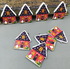 25X Christmas Buttons houses shape Sewing crafts scrapbooking decoration 33mm