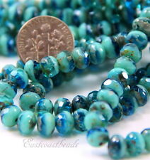 Faceted Glass Rondelle Beads 7x5mm ,Turquoise & Transparent Blue~ 25 Pieces