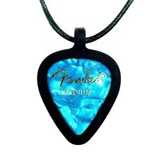 GUITAR PICK Necklace by Pickbandz PICK HOLDER in Black w/Turquoise Fender Pick!