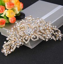 Bridesmaid Bridal Wedding Austrian Crystal Swiss Cut Diamond Hair Comb Gold