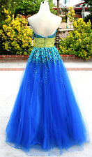 NWT FAVIANA COUTURE $358 Royal Lime Formal Party Gown 8