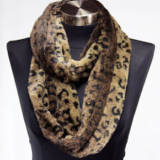 Faux Fur Brown Leopard Infinity Scarf Wrap Cowl Warm Circle Loop Scarves Cheetah