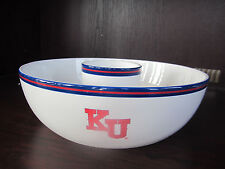 "KU U Of KANSAS Jayhawks CHIP AND DIP BOWL 14"" New IN Box CERAMIC memory company"