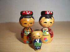 Vintage Set of 3 Vintage Mini Japanese Kokeshi Dolls Bobblehead Nodders