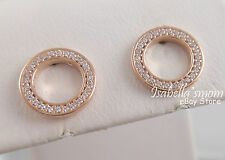 FOREVER PANDORA Genuine ROSE GOLD Plated/CZ Stones OPEN CIRCLE Earring STUDS New