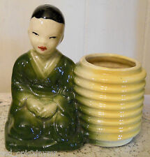 Vintage Chinese Boy & Yellow Basket Planter Collectible Asian Youth Green Robe
