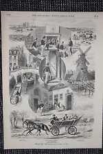 Bilder aus Delft Windmühle Prinzenhaus HOLZSTICH von 1876 Niederlande