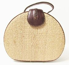 BOHO BROWN LEATHER AND WOVEN NATURAL RAFFIA CROSSBODY DRUM BAG W/ DETACH STRAP