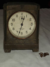 VINTAGE ANTIQUE RARE 1913 WILCOX MANTLE ALARM CLOCK COIN SLOT BANK WITH KEYS