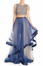 Terani Couture Navy Beaded Top & Organza Two-Piece Ballgown- Size 6