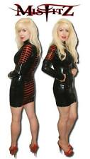 Misfitz black/red rubber latex slash mistress dress sizes 8-32/made to measure