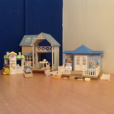 Sylvanian Families Bundle Bluebell Cottage Summer House Waffle House 6 Figures
