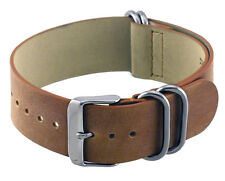 Rev ITAL208 22mm Natural Tan Genuine Leather 1 Piece Slip-Thru Replacement Band