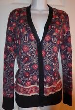 NWT TORY BURCH AIMEE Wool Long Sleeve Floral Print Cardigan Size M