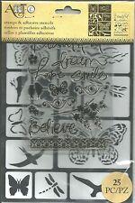 Art-C Stamp & Adhesive Stencils - Butterflies & Birds #178