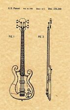 "Patent Print - Epiphone ""Scroll"" Bass - Music Art. Ready To Be Framed!"