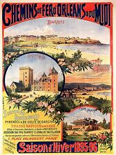 ART PRINT POSTER TRAVEL TOURISM FRANCE WINTER SEASON BIARRITZ TRAIN NOFL1194