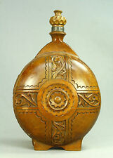 * Antique Carved Wood/Pewter Open Work Wine Canteen Flask Bottle