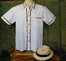 Bright White Men's Guayabera Latin American Shirt Cotton, made in Mexico Casual