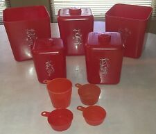 VTG COLS. Plastic Products Kitchen Canisters~Cookie Flour Sugar Tea Coffee~RED