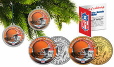 CLEVELAND BROWNS Christmas Tree Ornaments JFK Half Dollar US 2-Coin Set NFL