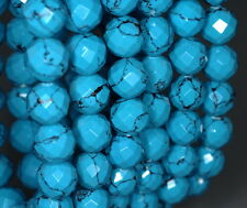 """10MM  TURQUOISE GEMSTONE BLUE FACETED ROUND LOOSE BEADS 8"""""""