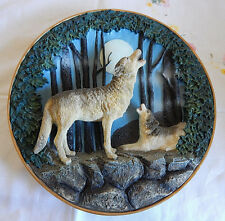 "'Howling Gray Wolves' Forest Moon  (3D Plate 8"") Gray Rock Collection"