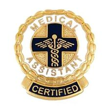 Certified Medical Assistant Lapel Pin CMA Caduceus Cross Medical Gold Plated New