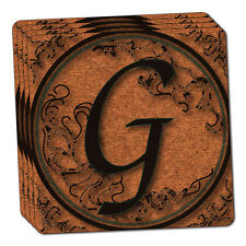 Vintage Letter G Initial Black Tan Thin Cork Coaster Set of 4