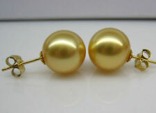 NATURE 10-11MM AAA+  SOUTH SEA GOLDEN PEARL EARRING 14K